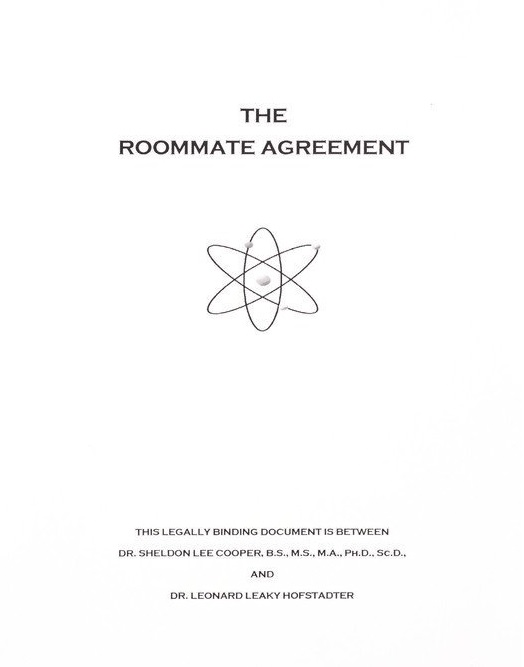 Roommate agreement the big bang theory roommate agreement platinumwayz